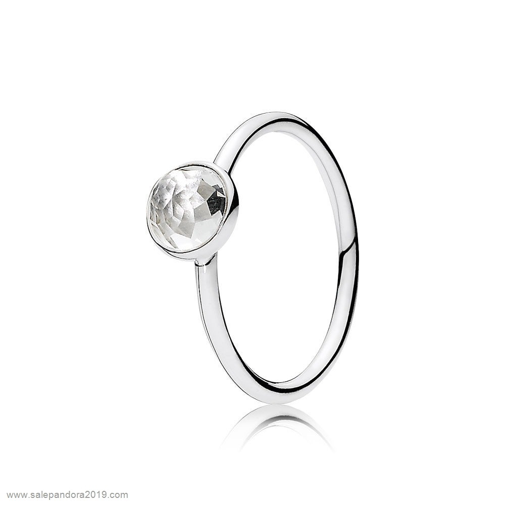 Premade Pandora Pandora Rings April Droplet Ring Rock Crystal