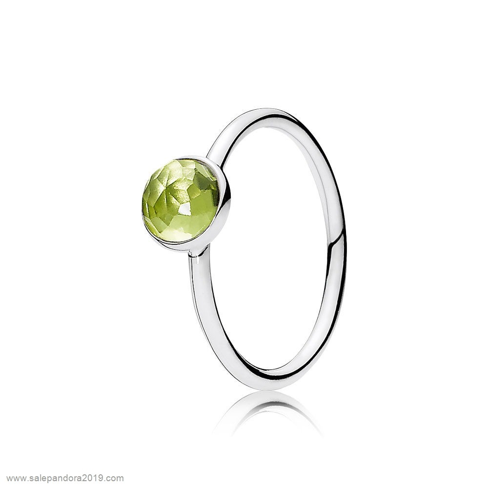 Premade Pandora Pandora Rings August Droplet Ring Peridot