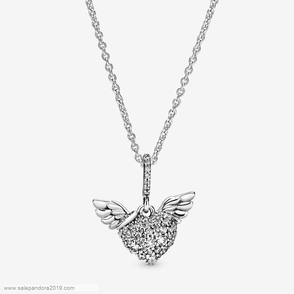 Premade Pandora Pavé Heart And Angel Wings Necklace