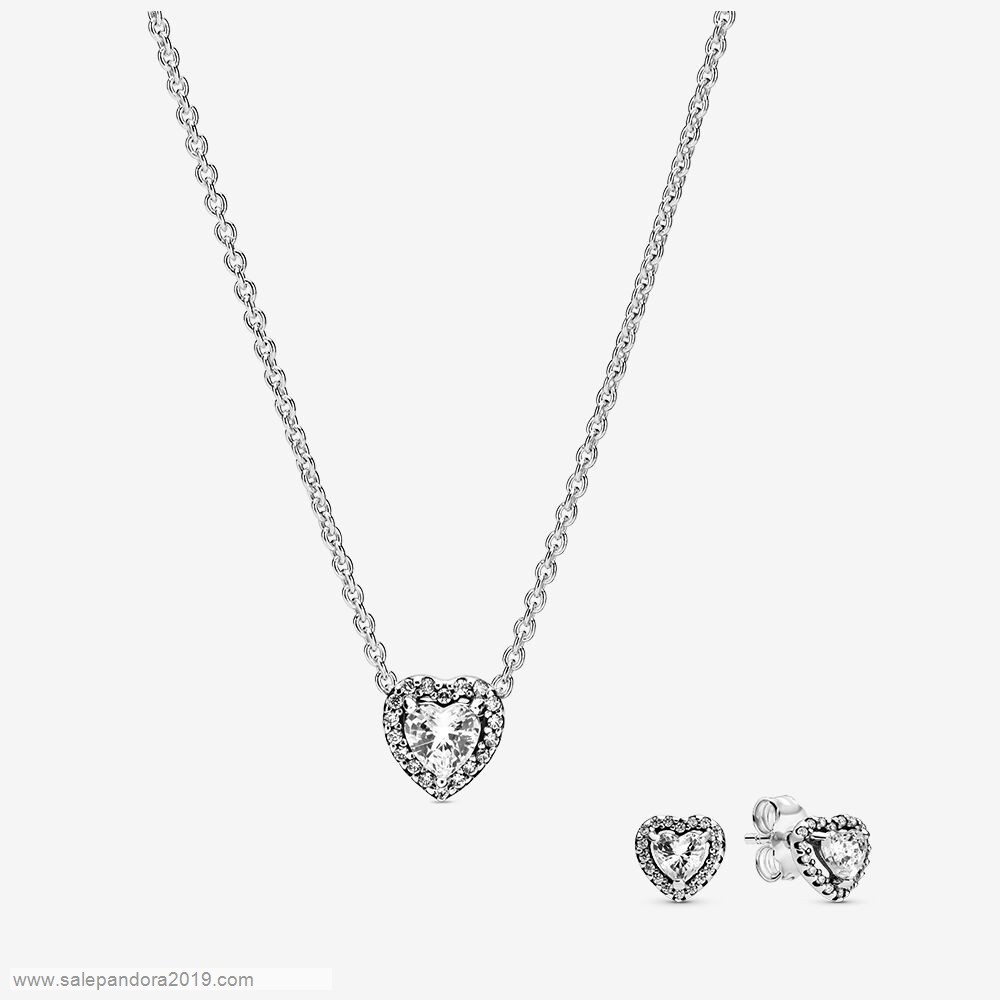 Premade Pandora Elevated Heart Necklace & Earrings Set
