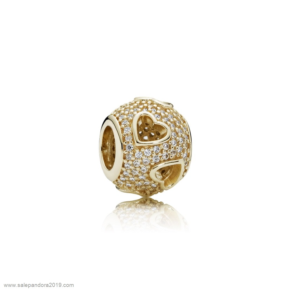 Premade Pandora Pandora Symbols Of Love Charms Ribbon Heart Charm 14K Gold