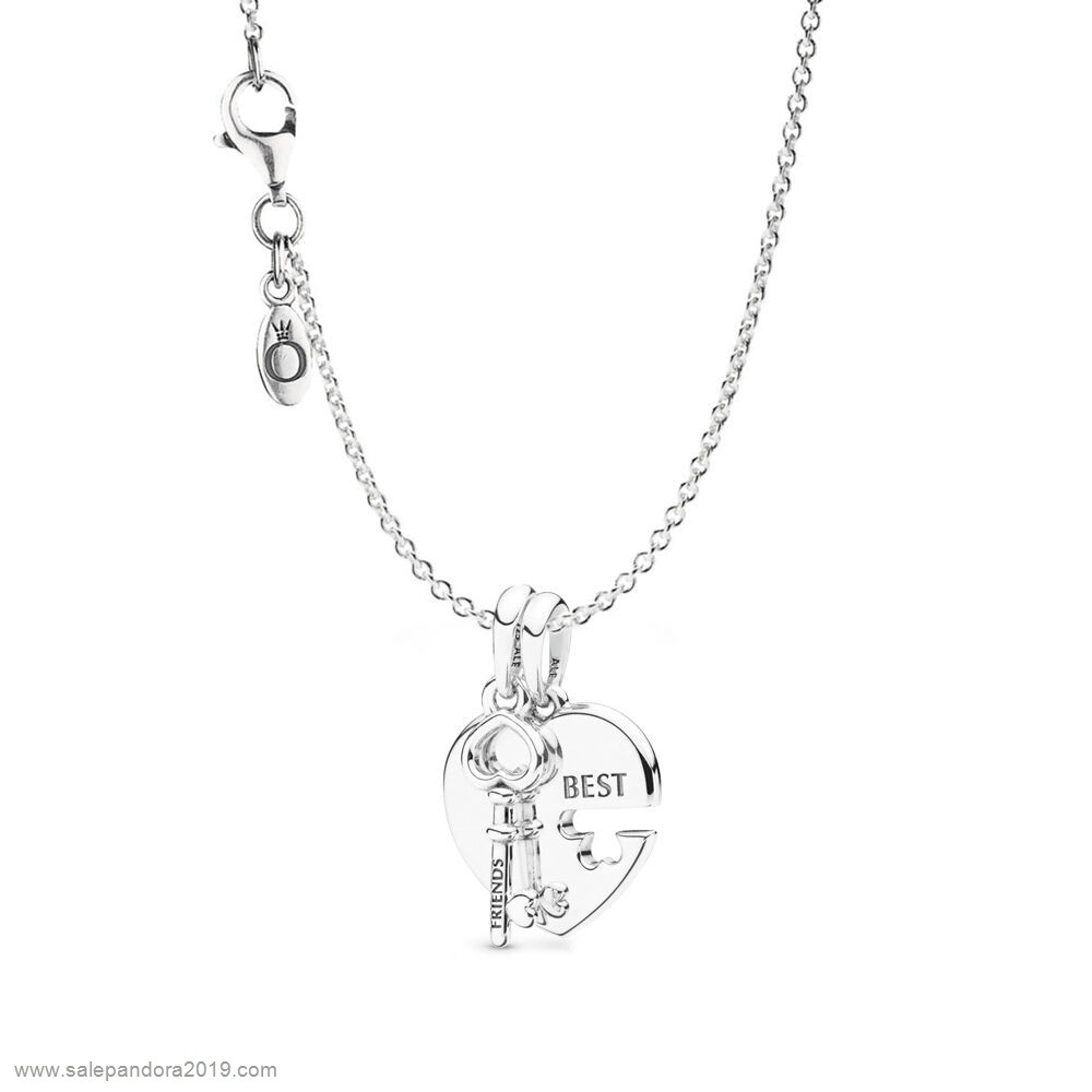 Premade Pandora Best Friends Heart & Key Necklace Set