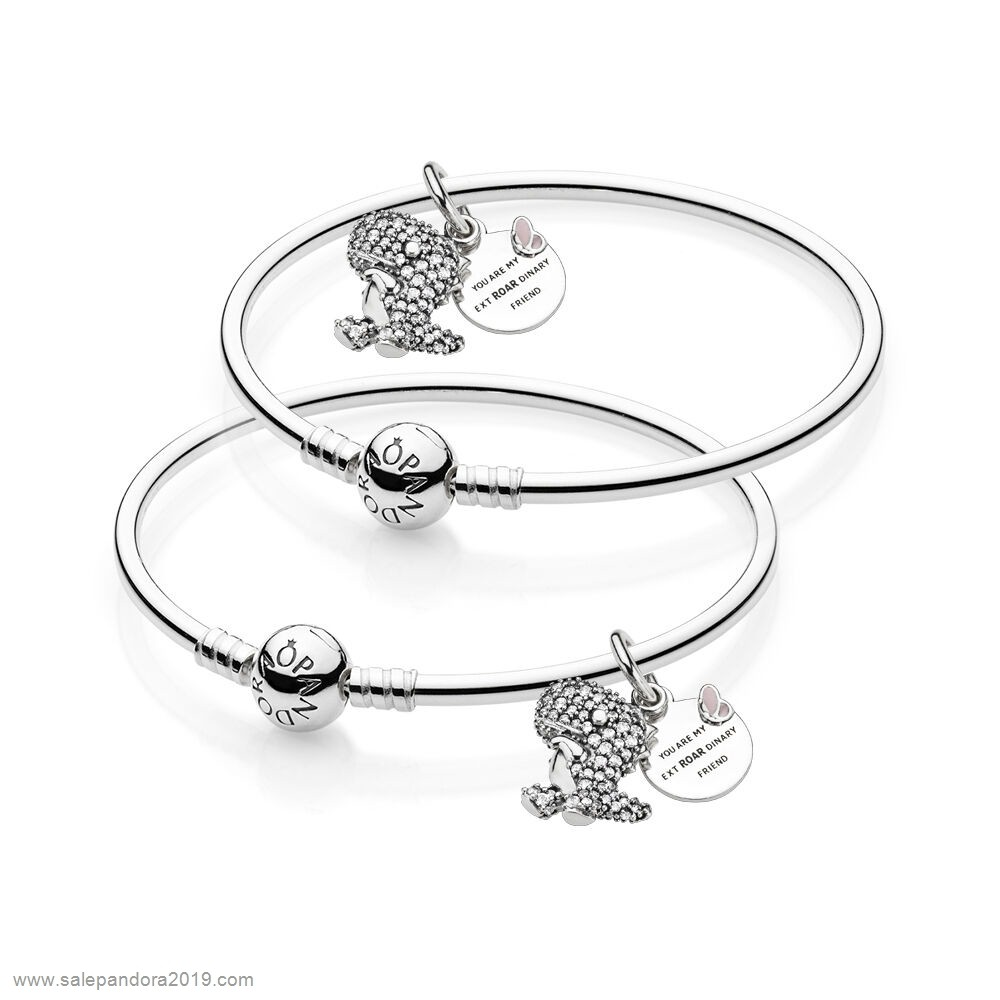 Premade Pandora Best Friends Pavé Dinosaur Bangle Set