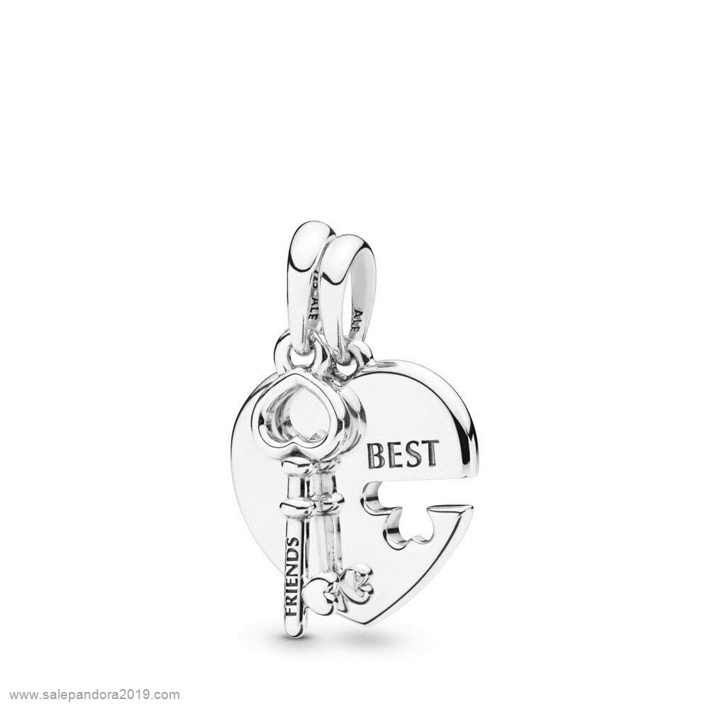 Premade Pandora Heart And Key Necklace Pendant