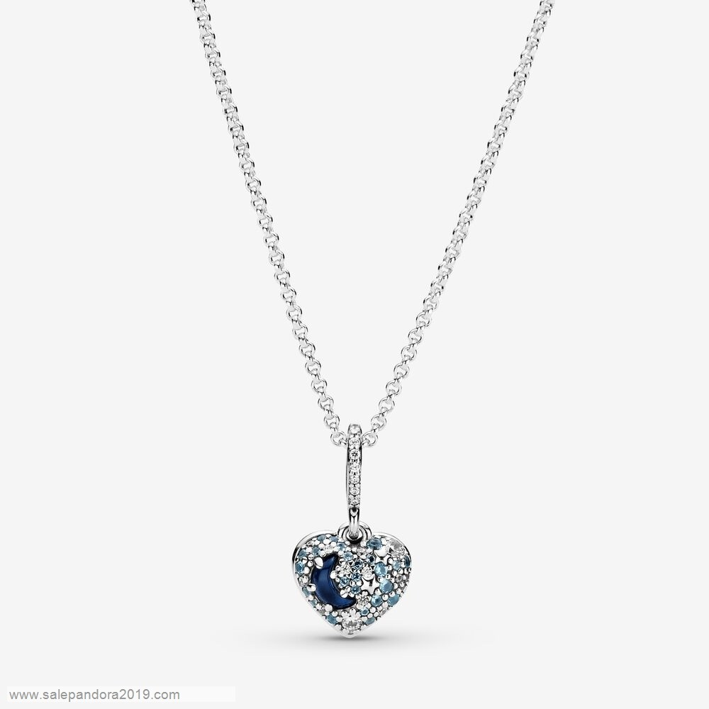 Premade Pandora Sparkling Blue Moon And Stars Heart Necklace