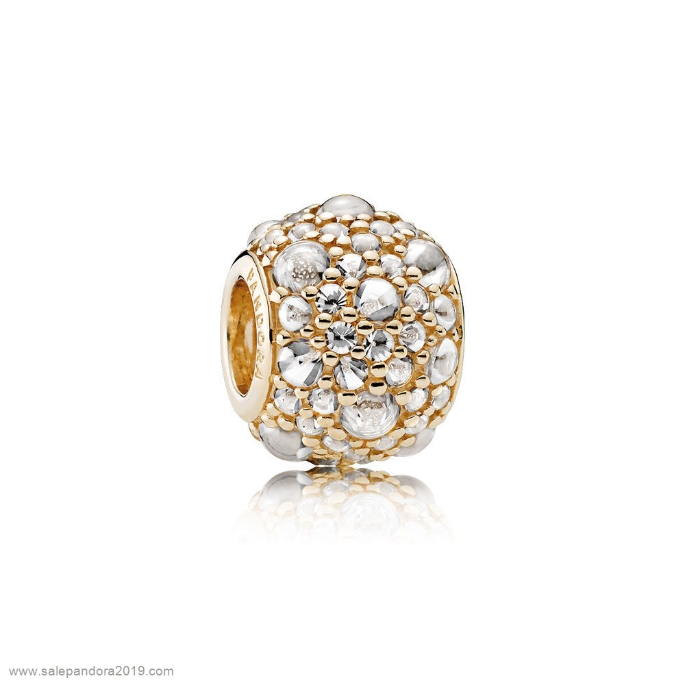 Premade Pandora Pandora Sparkling Paves Charms Shimmering Droplets Charm 14K Gold Clear Cz
