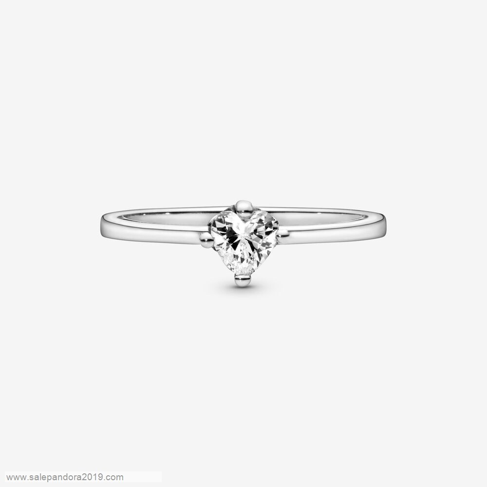 Premade Pandora Colorless Heart Solitaire Rings