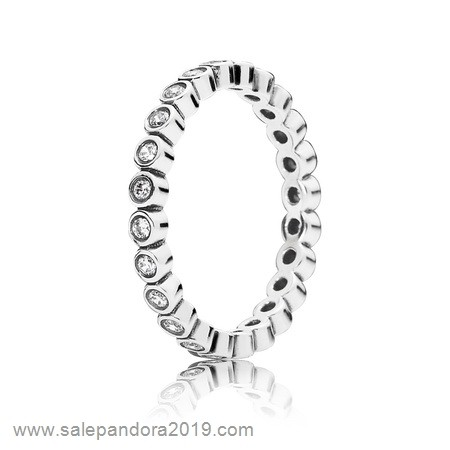 Premade Pandora Pandora Rings Alluring Petite Brilliant Stackable Ring Clear Cz